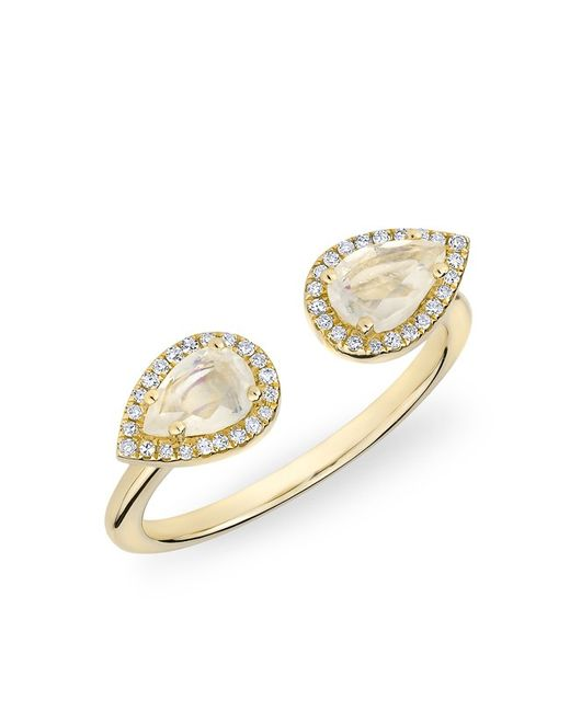Anne Sisteron - Metallic 14kt Yellow Gold Moonstone Diamond Throne Ring - Lyst