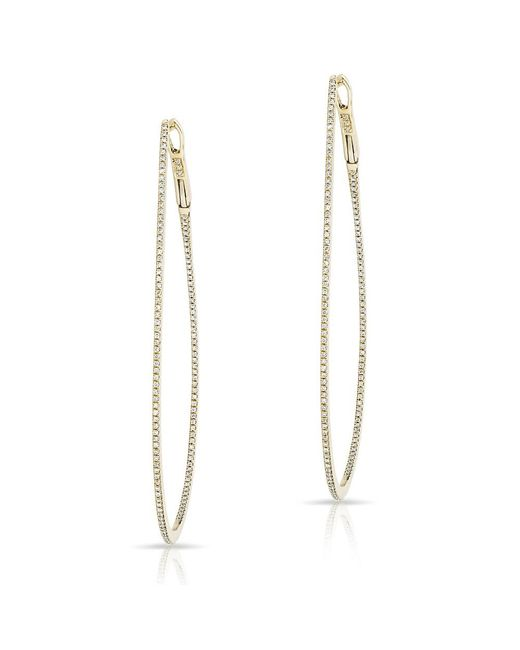 Anne Sisteron | Metallic 14kt Yellow Gold Diamond Large Pear Hoop Earrings | Lyst