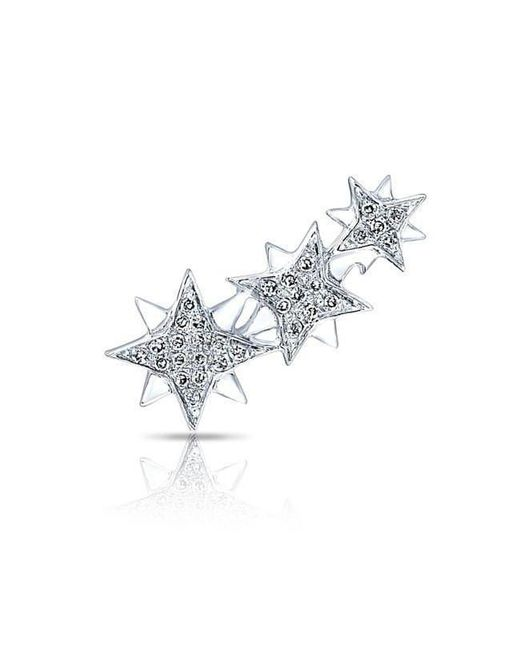 Anne Sisteron Multicolor 14kt White Gold Diamond Stars Ear Climber
