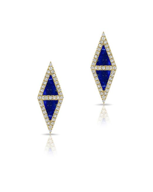 Anne Sisteron - Blue 14kt Yellow Gold Lapis Diamond Double Triangle Stud Earrings - Lyst