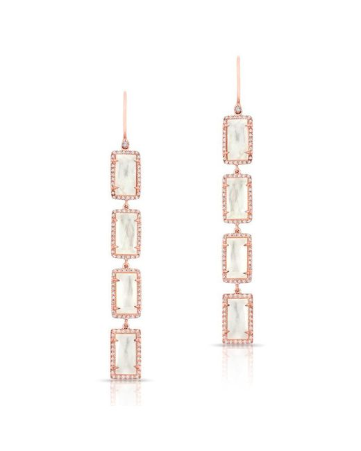 Anne Sisteron - Metallic 14kt Rose Gold Mother Of Pearl Diamond Rectangle Drops Earrings - Lyst