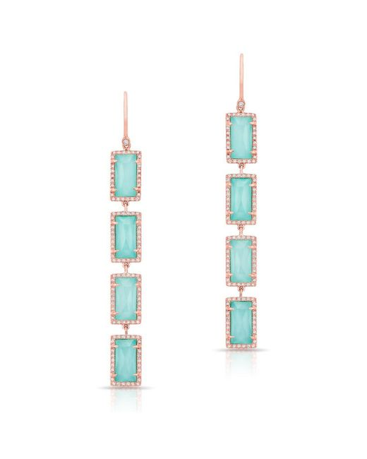 Anne Sisteron - Multicolor 14kt Rose Gold Turquoise Diamond Rectangle Drops Earrings - Lyst