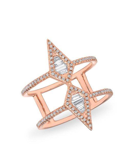 Anne Sisteron Multicolor 14kt Rose Gold Baguette Diamond Double Spear Ring