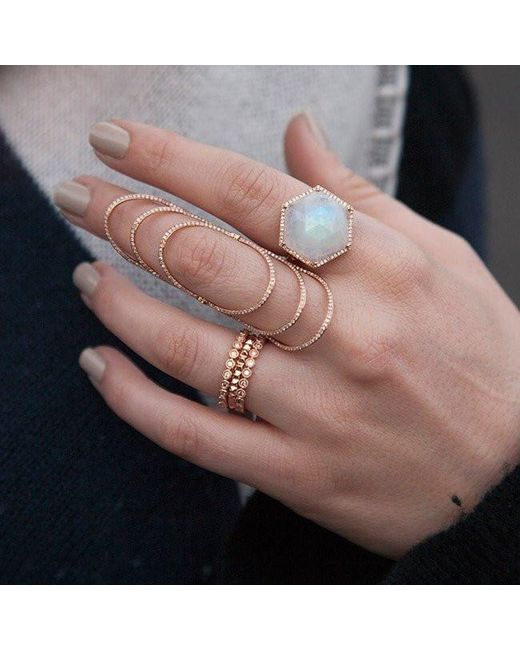 Anne Sisteron Pink 14kt Rose Gold Moonstone Diamond Hexagon Cocktail Ring