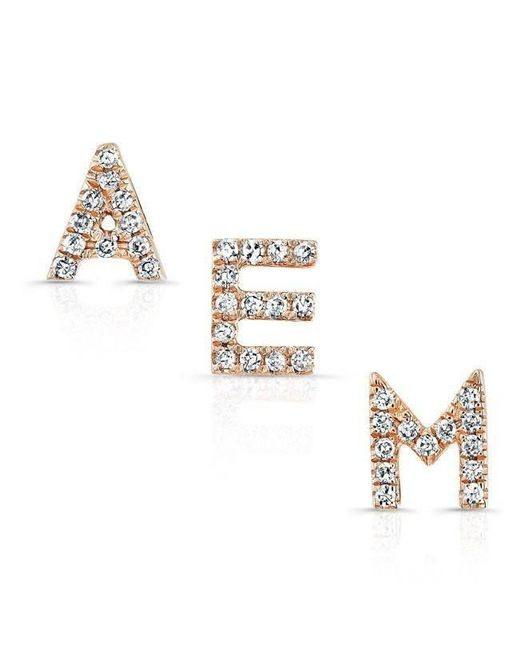Anne Sisteron | Multicolor 14kt Rose Gold Diamond Initial Stud Earring | Lyst