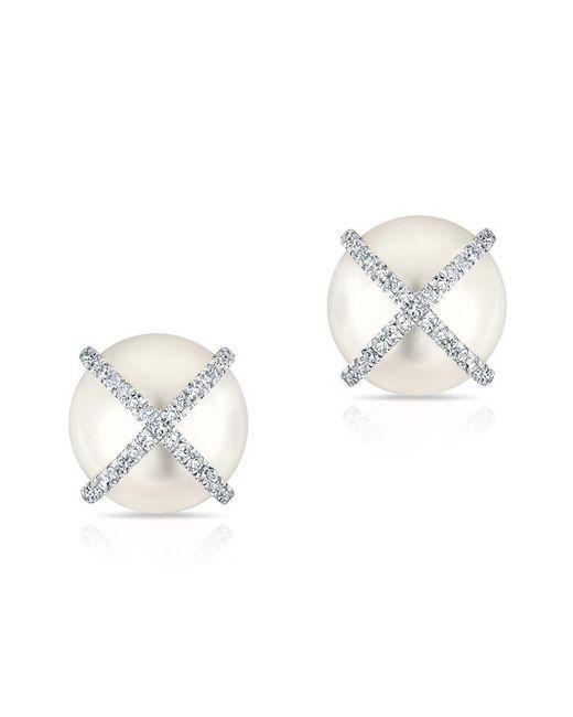Anne Sisteron - Metallic 14kt White Gold Diamond X Pearl Stud Earrings - Lyst