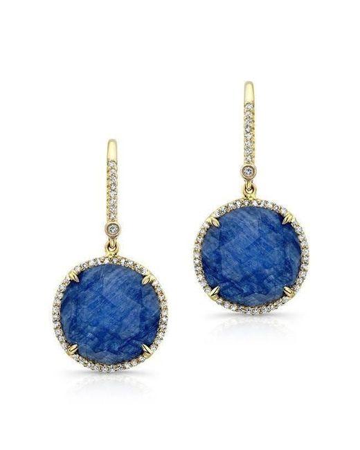 Anne Sisteron - Metallic 14kt Yellow Gold Blue Sapphire Diamond Round Earrings - Lyst