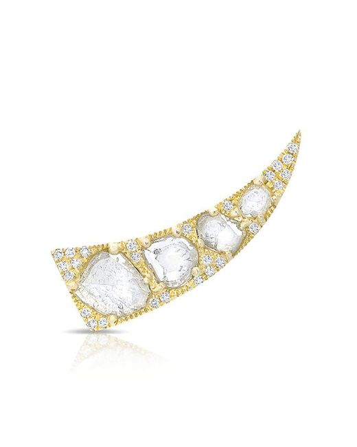 Anne Sisteron - Metallic 14kt Yellow Gold Diamond Slice Horn Ear Climber - Lyst