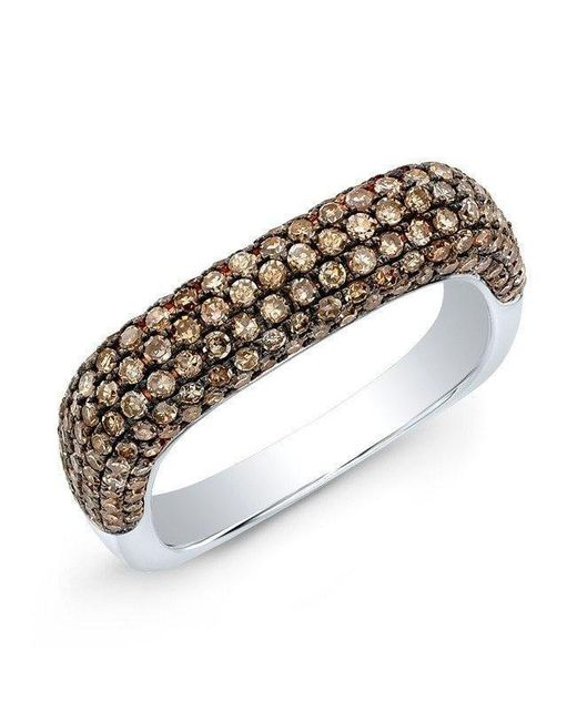 Anne Sisteron - Metallic 14kt White Gold Champagne Diamond Square Ring - Lyst