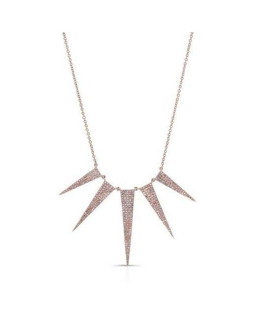 Anne Sisteron Metallic 14kt Rose Gold Diamond 5 Spike Necklace