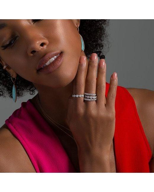 Anne Sisteron Metallic 14kt White Gold Corona Half Diamond Ring