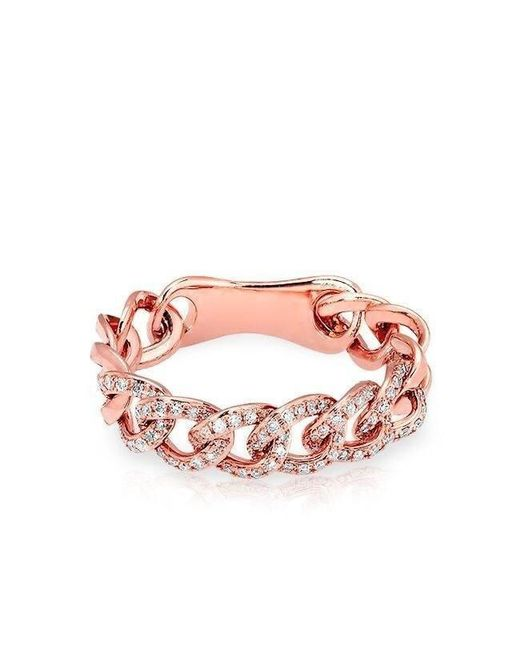 Anne Sisteron - Pink 14kt Rose Gold Diamond Chain Link Light Ring - Lyst
