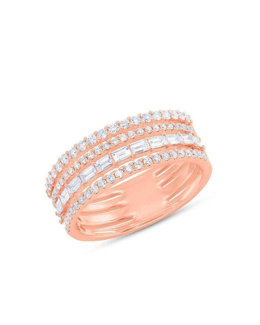 Anne Sisteron - Pink 14kt Rose Gold Diamond Baguette Eternity Ring - Lyst