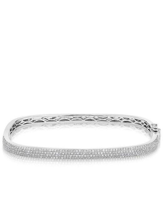 Anne Sisteron - Metallic 14kt White Gold Half Diamond Square Bangle Bracelet - Lyst