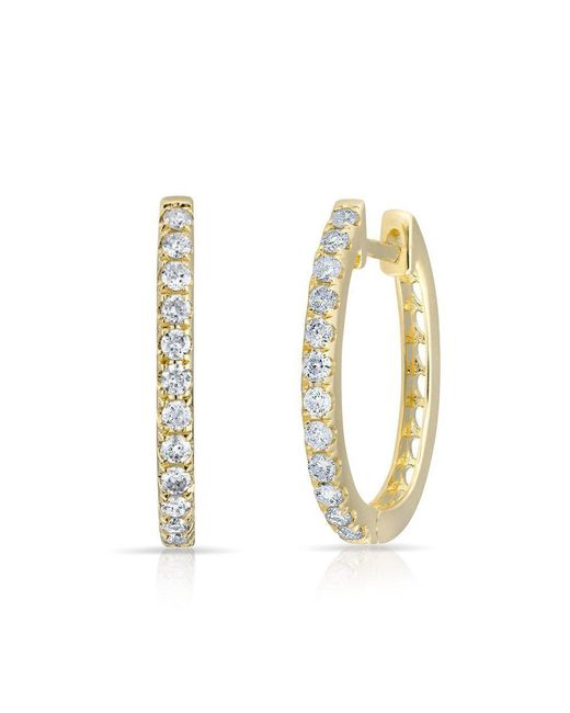Anne Sisteron Metallic 14kt Yellow Gold Diamond Marie Hoops