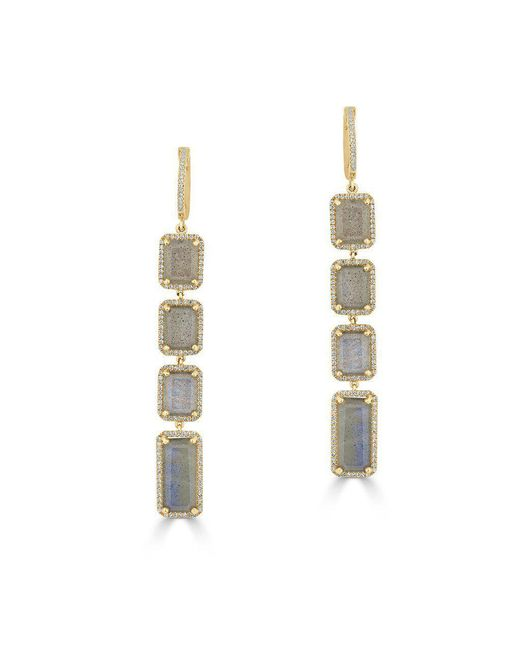 Anne Sisteron Metallic 14kt Yellow Gold Labradorite Diamond Geometric Earrings
