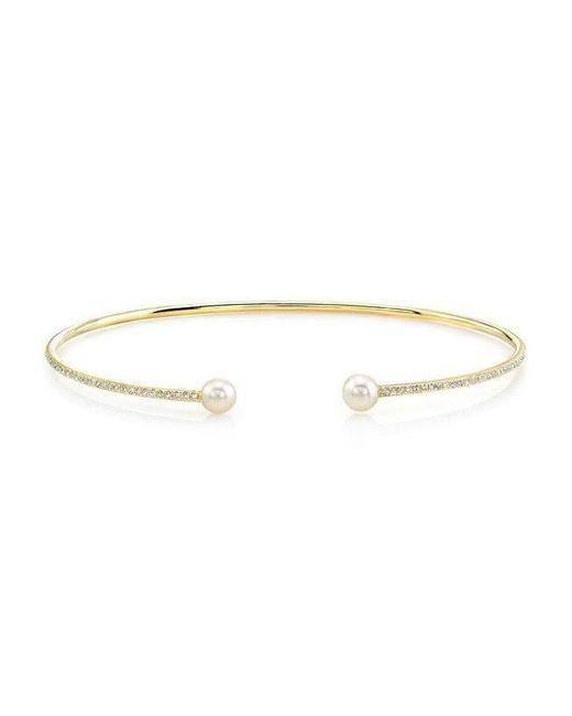 Anne Sisteron - White 14kt Yellow Gold Diamond Cuff - Lyst