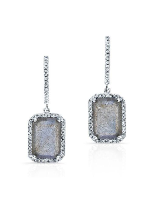 Anne Sisteron - Multicolor 14kt White Gold Rectangle Labradorite Diamond Chic Earrings - Lyst
