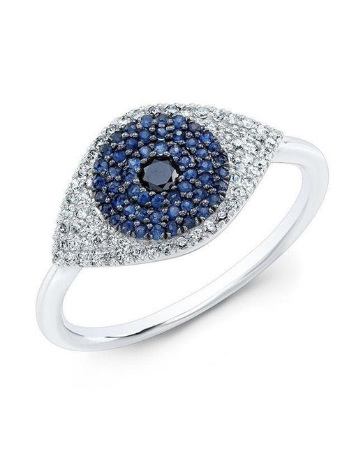 Anne Sisteron - Multicolor 14kt White Gold Diamond And Blue Sapphire Evil Eye Ring - Lyst
