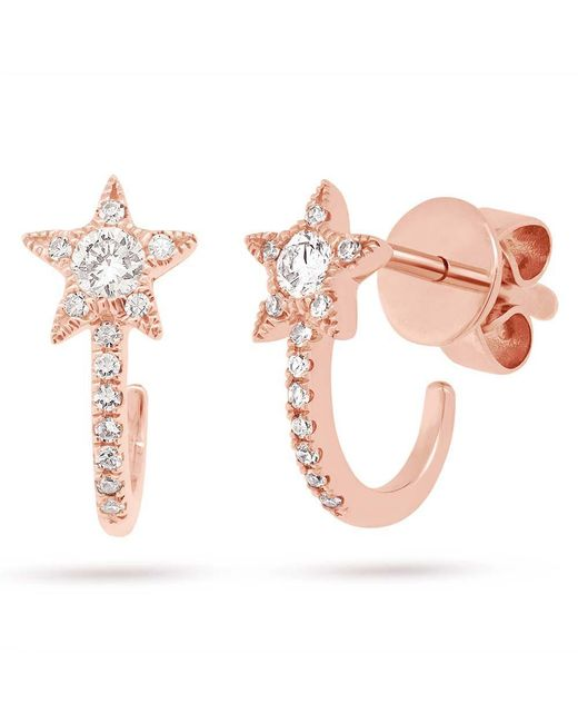 Anne Sisteron - Pink 14kt Rose Gold Diamond Curved Star Huggie Earrings - Lyst