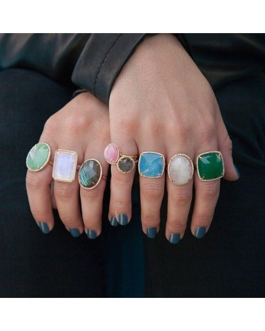 Anne Sisteron Multicolor 14kt Yellow Gold Chrysoprase Diamond Oval Cocktail Ring