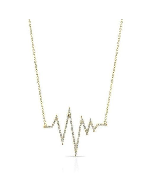 Anne Sisteron - Metallic 14kt Yellow Gold Diamond Heartbeat Necklace - Lyst