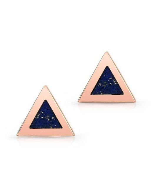 Anne Sisteron - Blue 14kt Rose Gold And Lapis Lazuli Triangle Stud Earrings - Lyst