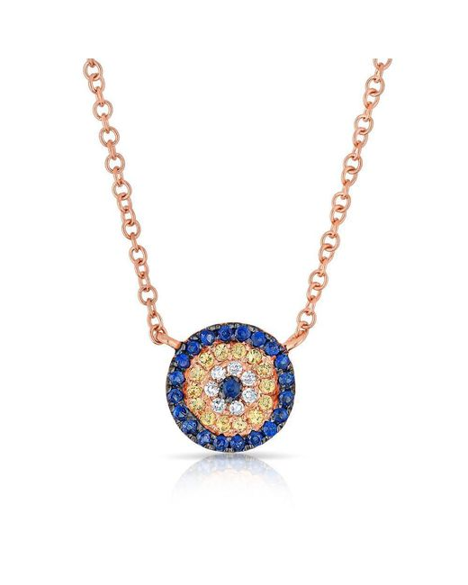 Anne Sisteron - Multicolor 14kt Rose Gold Diamond And Sapphire Mini Disc Necklace - Lyst
