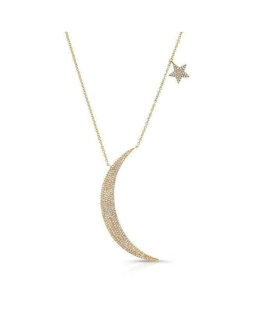 Lyst anne sisteron 14kt yellow gold diamond moon and star necklace anne sisteron metallic 14kt yellow gold diamond moon and star necklace lyst aloadofball Image collections