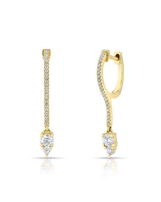 Anne Sisteron - Metallic 14kt Yellow Gold Diamond Drop Lila Huggie Earrings - Lyst