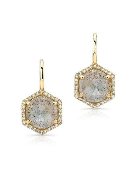 Anne Sisteron - Metallic 14kt Yellow Gold Labradorite Diamond Hexagon Dangle Earrings - Lyst