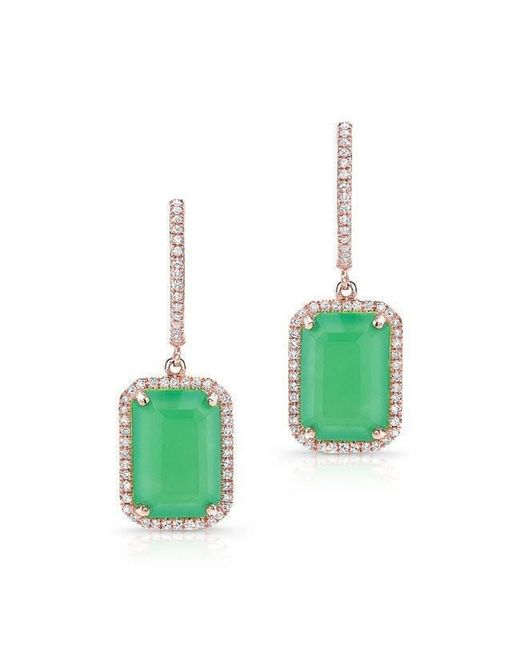 Anne Sisteron - Pink 14kt Rose Gold Rectangle Chrysoprase Diamond Earrings - Lyst