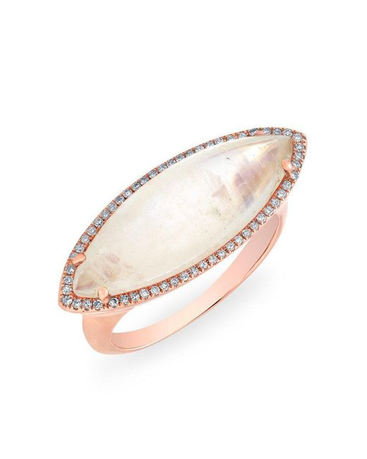 Anne Sisteron Multicolor 14kt Rose Gold Diamond Moonstone Marquis Ring