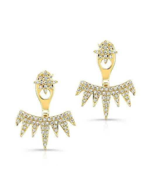 Anne Sisteron - Metallic 14kt Yellow Gold Diamond Spiked Tiara Floating Earrings - Lyst