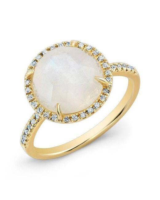 Anne Sisteron - Metallic 14kt Yellow Gold Rainbow Moonstone Diamond Cocktail Ring - Lyst