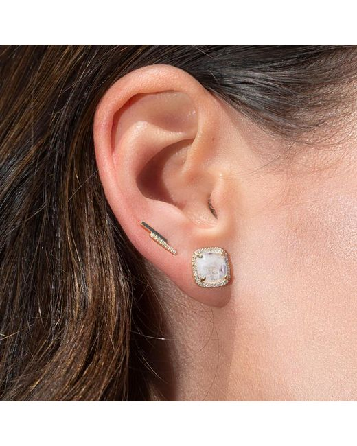 Anne Sisteron Multicolor 14kt Rose Gold Moonstone Diamond Square Stud Earrings