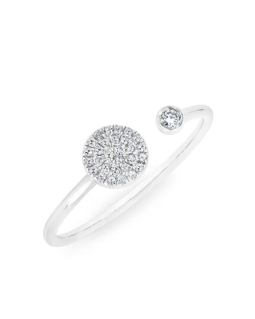Anne Sisteron | 14kt White Gold Diamond Disc And Bezel Ring | Lyst