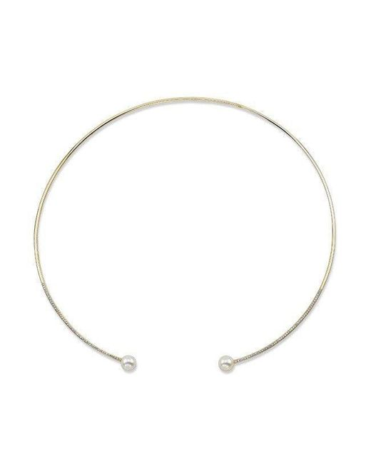 Anne Sisteron - Metallic 14kt Yellow Gold Diamond And Pearl Choker Necklace - Lyst