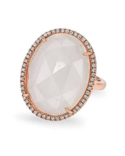 Anne Sisteron Metallic 14kt Rose Gold Moonstone Diamond Oval Cocktail Ring