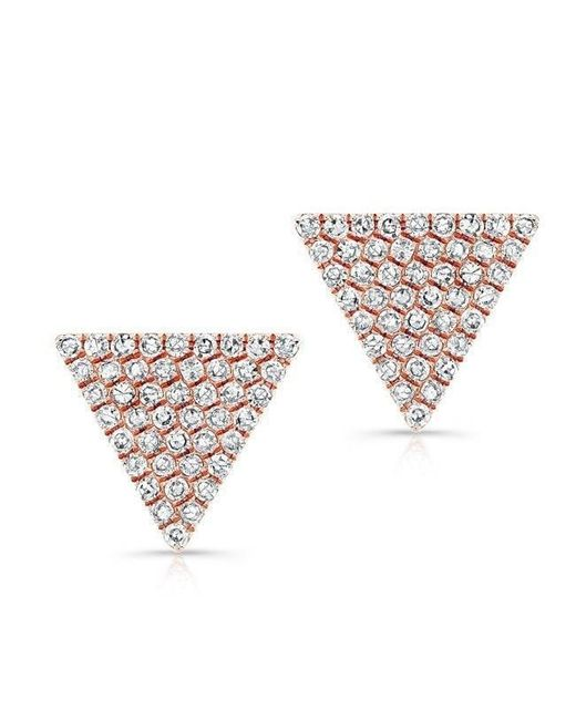 Anne Sisteron | Metallic 14kt Rose Gold Large Diamond Triangle Olivia Stud Earrings | Lyst