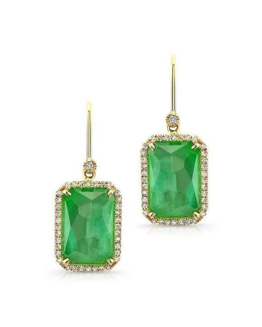 Anne Sisteron - 14kt Yellow Gold Mint Green Tourmaline Diamond Earrings - Lyst