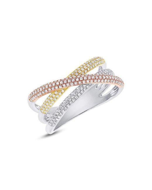 Anne Sisteron - Metallic 14kt Three Tone Gold Diamond Wire Ring - Lyst