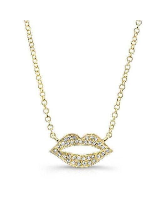 Anne Sisteron - Metallic 14kt Yellow Gold Diamond Lips Necklace - Lyst