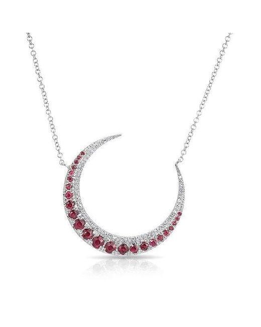 Anne Sisteron - Metallic 14kt White Gold Ruby Lunar Diamond Necklace - Lyst