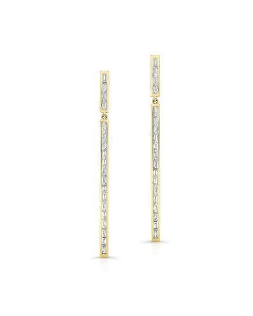 Anne Sisteron - Metallic 14kt Yellow Gold Diamond Long Bar Baguette Earrings - Lyst