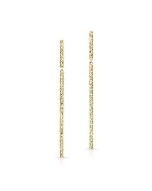 Anne Sisteron - Metallic 14kt Yellow Gold Diamond Long Bar Earrings - Lyst
