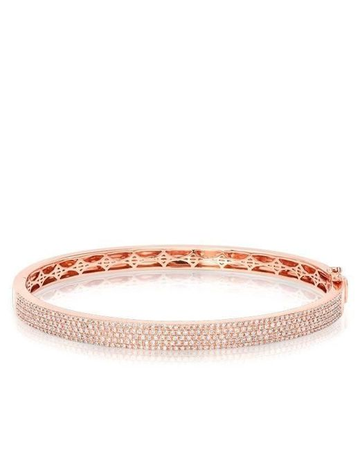 Anne Sisteron - Pink 14kt Rose Gold Half Pave Diamond Bangle - Lyst