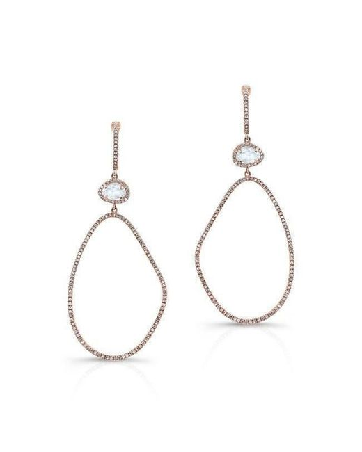 Anne Sisteron - Metallic 14kt Rose Gold Diamond White Topaz Organic Shape Earrings - Lyst