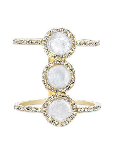 Anne Sisteron - Metallic 14kt Yellow Gold Triple Diamond Slice H Ring - Lyst