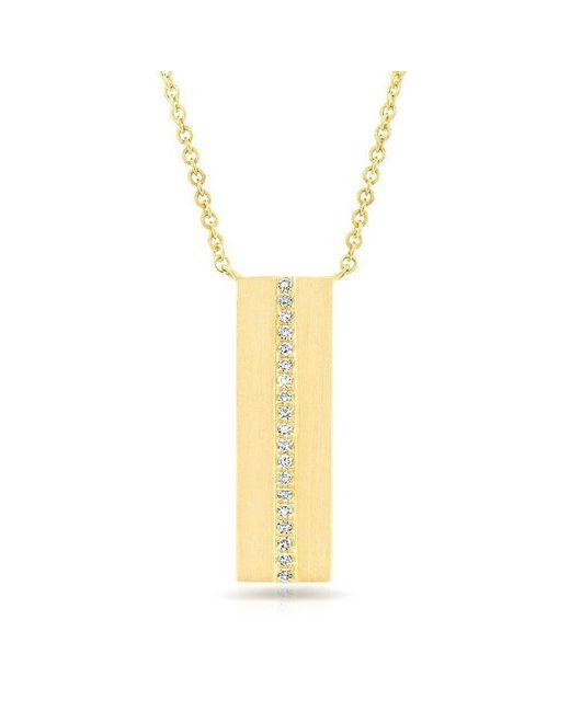 Anne Sisteron Metallic 14kt Yellow Gold Diamond Plated Bar Necklace